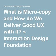 What is Micro-copy and How do We Deliver Good UX with it? » Interaction Design Foundation