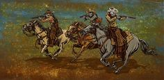 Running From The Law by David Lozeau Skeleton Western Canvas...