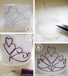 You will need:  a. A 2-liter plastic soda pop bottle.  b. Glitter glue.  c. A sharp pair of scissors and a little bit of tape