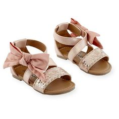 Koala Kids Girls Hard Sole Sequin Strap Sandal with Ankle Bow Detail