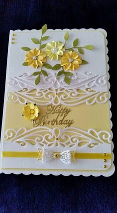 Yellow flower and white lace card Birthday Cards For Women, Handmade Birthday Cards, Happy Birthday Cards, Greeting Cards Handmade, Bday Cards, Embossed Cards, Cricut Cards, Card Tutorials, Pretty Cards