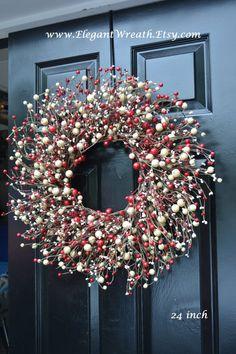 Valentines Day SALE Red and Cream Berry Wreath by ElegantWreath