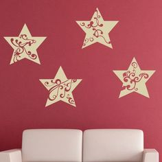 "Style and Apply Christmas Star Ornaments II Wall Decal Size: 24"" H x 24"" W, Color: Dark Gray"
