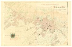 Plano aerotopográfico de Bogotá : el Instituto Geográfico Militar a la ciudad de Bogotá en el IV centenario de su fundación | banrepcultural.org Centenario, Vintage World Maps, Diagram, Military, Cities, Places