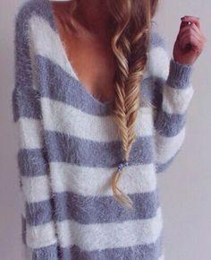 striped and fuzzy v-neck