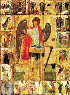 ru: Orthodox icons / Moscow icons Archangel Michael with Scenes from His Deeds. The temple icon of Archangel Cathedral of the Moscow Kremlin. Byzantine Icons, Byzantine Art, Russian Icons, Russian Art, Religious Icons, Religious Art, Andrei Rublev, Russian Painting, Russian Orthodox