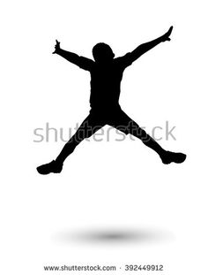 Happy boy jumping. Holiday Digital illustration. Silhouette, jump one boy isolated on white background. Children preschool, Sport. For Art, Print, web, craft graphic design. - stock photo