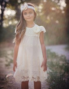 Think Pink Bows | Baby Boutique | Little Girl Dress | This vintage-inspired baby-doll-style petti lace dress is perfect for Sunday best, family pictures, as a flower girl dress, or a birthday dress!