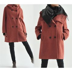 107 Hooded Women's Double Breasted Boiled Wool Cocoon Coat Oversized... ($189) ❤ liked on Polyvore featuring grey and women's clothing