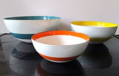Cathrineholm ? Enameled nesting bowls ribbon color Scandinavian Mid Century Cool