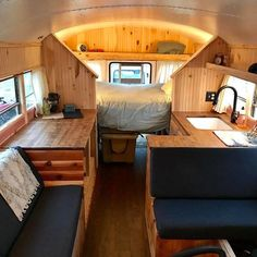 """""""Birdie is a retired school bus rebuilt on tight budgets, big dreams, simplicity and endless comfort so no matter where we roam, we're… Vw Lt 35, School Bus Camper, School Bus House, Rv Bus, Motorhome, Minibus, Vw Camping, Glamping, Trailers"""
