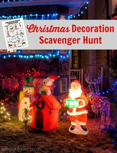 Make looking at Christmas lights even more fun with this Christmas Decoration Scavenger Hunt! #christmasprintable #christmasactivity #kidschristmas #christmasscavengerhunt #christmasfamilyactivity #christmaslights