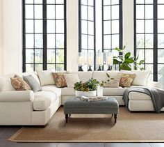 Townsend Upholstered 4-Piece Sectional With Chaise   Pottery Barn