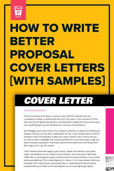 How do you write a winning cover letter for your proposal? In this post, I break down 15 cover letter examples, showing you how to create the 5 main… Perfect Cover Letter, Best Cover Letter, Cover Letter Example, Marketing Proposal, Business Proposal, Cool Writing, Writing Tips, Montgomery Burns, Best Proposals