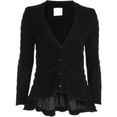 Black cardigan with flared hem