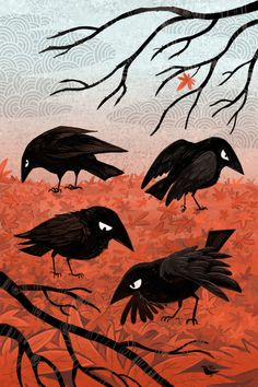 Crow Fall and Crow Consternation Finally finished the crows on a carpet of maple leaves! When I did, I realized that I had actually started a new seasonal crow series. Crow Consternation is actually. Crow Art, Raven Art, Bird Art, Grimm, Crows Drawing, Crows Ravens, Art Inspo, Art Drawings, Illustration Art
