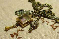 Keyhole Chatelaine Charm Necklace with tattoo rose art in vintage watch case reliquary, hand charm, small silver flower, Swarovski crystals