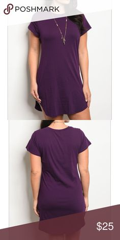 "PLUS SIZE PURPLE TUNIC / DRESS PLUS SIZE PURPLE TUNIC / DRESS FEATURES CREW NECK, SHORT SLEEVES, ROUNDED HEM, FITTED TEE SHIRT STYLE. GREAT TO PAIR WITH LEGGINGS *COTTON / SPANDEX. 1x MEASUREMENTS BUST 40"" LENGTH 35"" WAIST 40""ASK ABOUT SPECIAL 1x-2x-3x BUNDLE FOR YOUR BOUTIQUE  Tops"