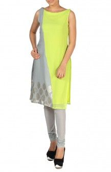 Grey And Green Tunic With Leggings  Rs. 4,220