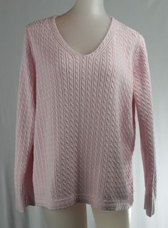 TALBOTS WX Light Pink V-Neck Cable Knit Long Sleeve Sweater #Talbots #VNeck
