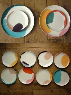 color drip ceramic plates, neutral and neon, modern wedding reception decor insp. color drip ceramic plates, neutral and neon, modern wedding reception decor inspiration Modern Wedding Reception, Wedding Reception Decorations, Decoration Design, Deco Design, Design Food, Plate Design, Booth Design, Ceramic Plates, Ceramic Pottery