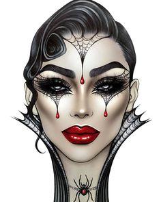 Makeup art Repost with ・・・ Artist 👑💉🕷🕸🌟 facechart facechartart facechartartist lashes luck eyebrows brow brows eyes star mystic gold clown брови ресницы lips glowmakeup glow eyelashes halloweenmakeup halloween Edgy Makeup, Makeup Eye Looks, Creative Makeup Looks, Fx Makeup, Crazy Makeup, Beautiful Halloween Makeup, Makeup Face Charts, Mac Face Charts, Makeup Drawing