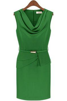 Green Sleeveless Belt Back Zipper Chiffon Dress - Sheinside.com