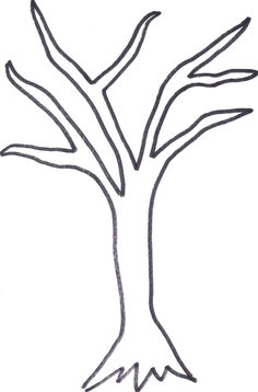 Easy bare tree coloring page bare tree template printable coloring pages for kids and for adults Winter Tree Drawing, Tree Drawing For Kids, Tree Trunk Drawing, Tree Drawing Simple, Drawing Trees, Tree Templates, Templates Printable Free, Leaf Coloring Page, Coloring Pages
