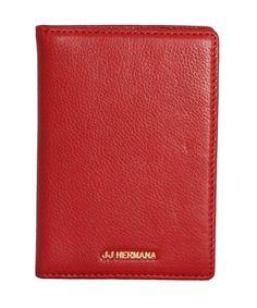 JJ Hermana HMA.509.RED Jet Set Travel Grain Leather Passport Wallet Credit Card Holder