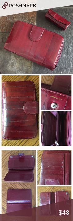 """Vintage Burgundy Eel Skin Wallet & Lipstick Holder Eel Skin wallet & Lipstick Holder in a rich burgundy color & soft as butter.  Compartments galore! Hooks on inside of wallet to attach a chain. All sides/inside shown. Measures 7-1/4"""" x 5"""" closed. Matching Lipstick Holder has attached inside mirror. In great preowned vintage condition showing slight wear on the removable credit card/license compartment as shown. Scars, wrinkles, scratches, or subtle variations in the color are…"""