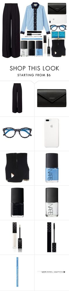 """gingham top"" by juliehalloran ❤ liked on Polyvore featuring Miss Selfridge, Balenciaga, Yves Saint Laurent, MICHAEL Michael Kors, Polaroid, NARS Cosmetics, Gucci, Too Faced Cosmetics and NYX"