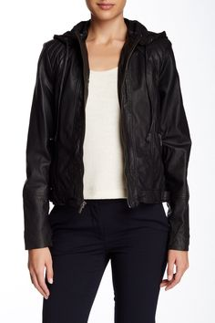 Hooded Zip Genuine Leather Bomber Jacket by Cole Haan on @nordstrom_rack