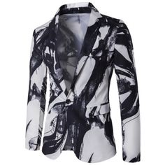 33.78$  Watch now - http://di3qa.justgood.pw/go.php?t=201392604 - Wash Painting Lapel One Button Blazer 33.78$