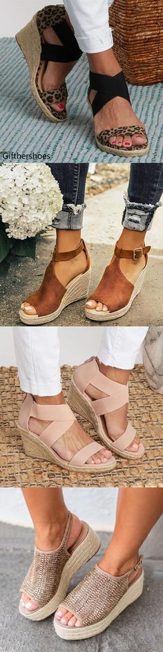 GiftHerShoes offers a wide selection of trendy fashion style women's shoes, clothing. Affordable prices on new shoes, tops, dresses, outerwear and more. Espadrille Wedge, Wedge Sandals, Shoes Sandals, Cute Shoes, Me Too Shoes, Beach Wedding Sandals, Casual Hairstyles, Shoes With Jeans, Mode Outfits