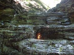 Eternal Flame Falls in Chestnut Ridge Park, Orchard Park NY - Beautiful naturally occurring in the middle of a waterfall  - Follow the flame trail markers to see it for yourself
