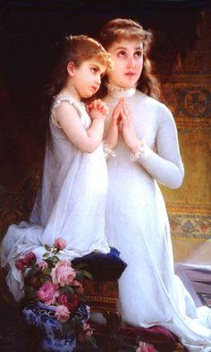 Two Girls Praying by Emile Munier, 1882