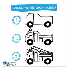 Coloriage : le camion de pompier Firefighter, Greeting Cards, Animation, Comics, Drawings, Creative, Books, Kids, Fictional Characters