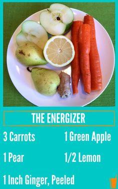 De Energizer Gezonde Juice Recept vermeld met een plaat van wortelen, citroen, peren, en gember.