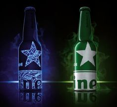 "Heineken STR bottle ""lights up"" in a night club's back light bar atmosphere"