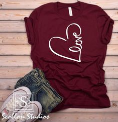 Love Heart Valentines Shirt - Love Shirts - Ideas of Love Shirts - - Love Heart Valentines Shirt The perfect gift for yourself. Romantic Valentine Gift For Girlfriend Valentine Shirts, Valentine Gifts For Girlfriend, Heart Shirt, Love Shirt, Diy Shirt, Cute Tshirts, Mom Shirts, T Shirts For Women, Cute Shirt Designs