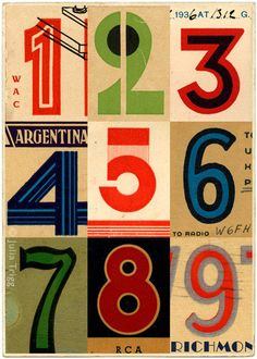 "Giclee print of a collage by Julia Trigg, Brighton, UK  - gives me an idea for a ""numbers"" quilt"