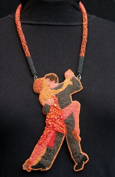 TANGO TANGERINE bracelet necklace set by KrisDesignFSP on Etsy, $240.00