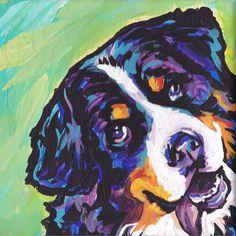 Bernese Mountain Dog art print modern pop art bright colors 12x12 by BentNotBroken on Etsy