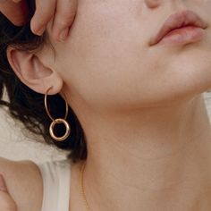Brass double hoop earrings that will make your ears rejoice. Super simple. Super chic. Super on trend. - Surgical steel ear wire for sensitive ears - Brass hoops - Very lightweight - Large hoop is 30m
