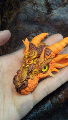 Orange and Bronze Dragon Pendant by AstridMakosla.deviantart.com on @deviantART