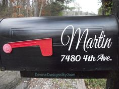 Set of Personalized Mailbox Decals With Name and Street Address - Your Choice of Color by DivineDesignsBySam on Etsy https://www.etsy.com/listing/263457030/set-of-personalized-mailbox-decals-with