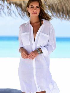 Women Kaftan Beach Dress Cover Up Long Shirts Pareos Sarongs 2018 Sexy Bikini Solid Cover-Up Tunic Swimsuit Robe De Plage White - light green One Size Beach Shirts, Summer Shirts, Bikini Cover Up, Sexy Bikini, White Beach Shirt, Estilo Casual Chic, Beach Cover Ups, White Beach Cover Up, Moda Chic