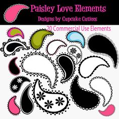 Paisley Love  Digital Clipart Elements Commercial use InsTaNt DoWnLoAd