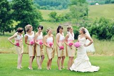 Bridesmaids dresses dont always have to be the same! - allow personality in the wedding dresses; these bridesmaids use different shoulder designs
