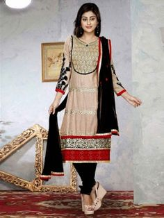 Cream Cotton Suit With Resham And Zari Embroidery Work